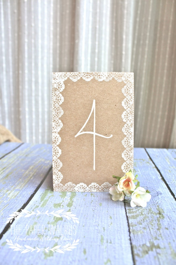 Lace Wedding Table Numbers - Handmade  & Eco-Friendly - Vintage Weddings