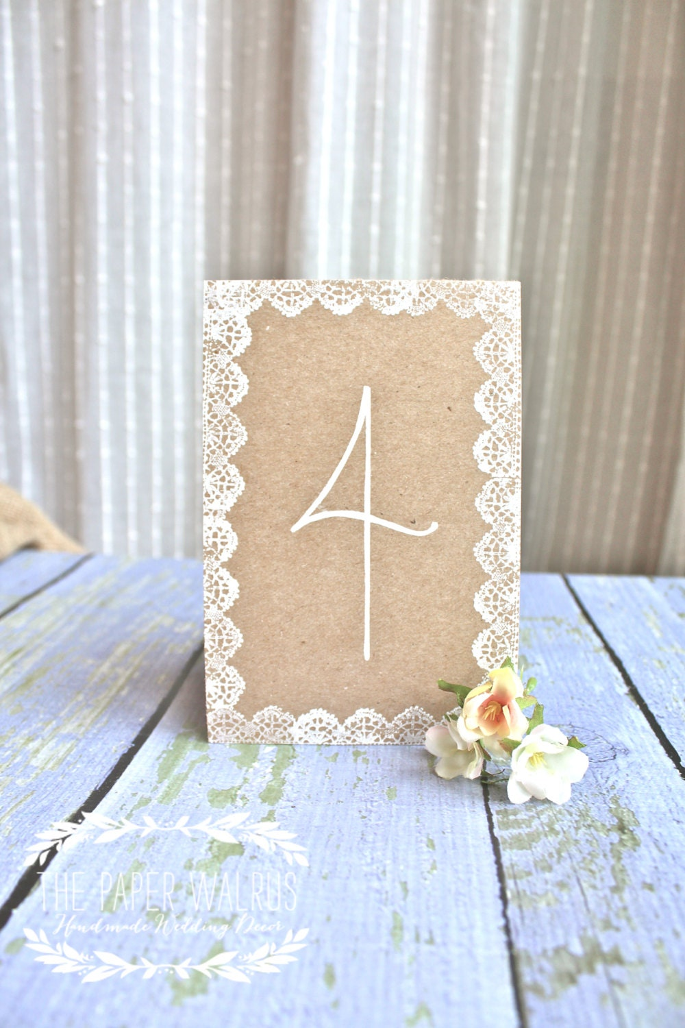 wedding table numbers kraft lace handmade by thepaperwalrus. Black Bedroom Furniture Sets. Home Design Ideas