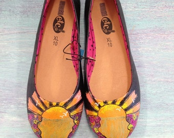 Picturesque Sunrise Hand Painted Womens Flats/Womens Shoes