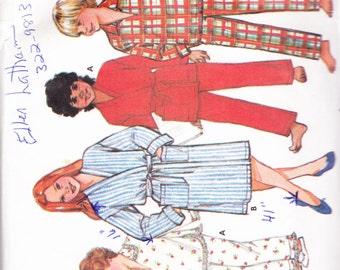 Butterick 6974 CLEARANCE Vintage Pattern Childrens Pajamas and Robe Size 7,8,10 UNCUT