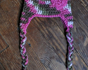 Crochet Camo Beanie with Earflaps and Heart Detail