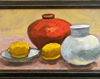 Lemons & Red Vase still life original oil painting 16x8 unframed