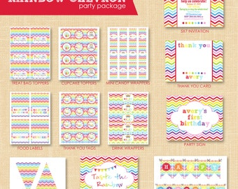 Rainbow Party Printables Package - Rainbow Birthday Party Decorations - Rainbow Party Favors - Rainbow Party Invitation