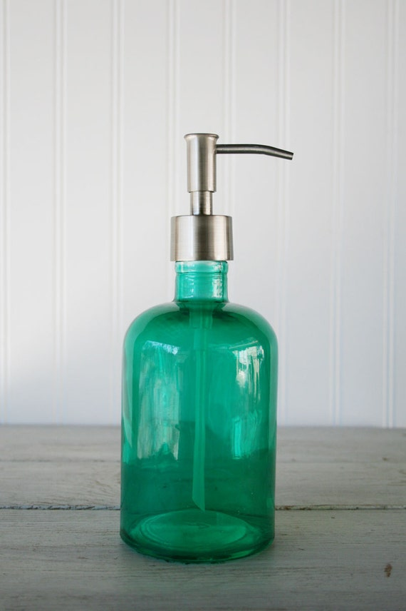 Recycled Glass Soap Dispenser Aqua Marine Green
