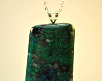 Necklace of Chrysocolla stone pendant suspended on a Sterling Silver 18 inch chain