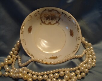 Small Decorative Bowl- Moriyama Mori-Machi-  Hand Painted w Moriage and  Gold 1920's