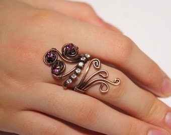 copper with purple and white crystal ring adjustable wire wrapped jewelry handmade