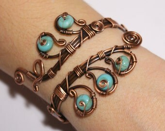 Turquoise Bracelet Turquoise Cuff Bracelet Copper Bracelet Copper Jewelry Copper Cuff Bracelet Wire Wrapped Jewelry Handmade Bracelet