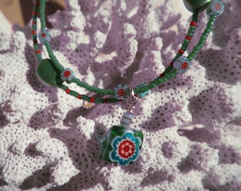 Green and red 2 stranded flower Anklet