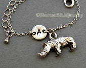Rhino charm bracelet, antique silver, initial bracelet, friendship, mothers, adjustable, monogram