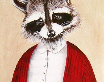 Lady Racoon Digital Print  Illustration Print Art Poster Acrylic Painting Decor Drawing Illustration, christmas gift, merry everything