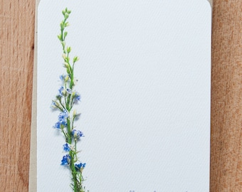 Personalized Note cards - Purple Floral Stalk - Stationery Set - Gift for Her