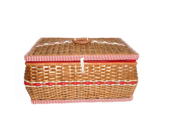 Vintage Wicker Sewing Basket 57