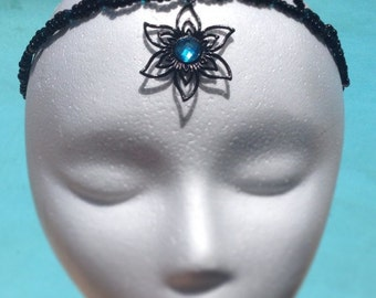 Black Flower and Turquoise Circlet, Headpiece, Headband