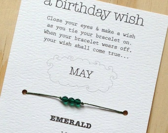 MAY - Birthday Wish Bracelet - Emerald - Waxed Irish Linen - Choose Your Own Color