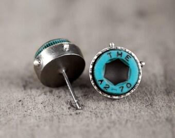 industrial teal stud earrings - silver with turquoise screws  - eco friendly modern industrial earrings