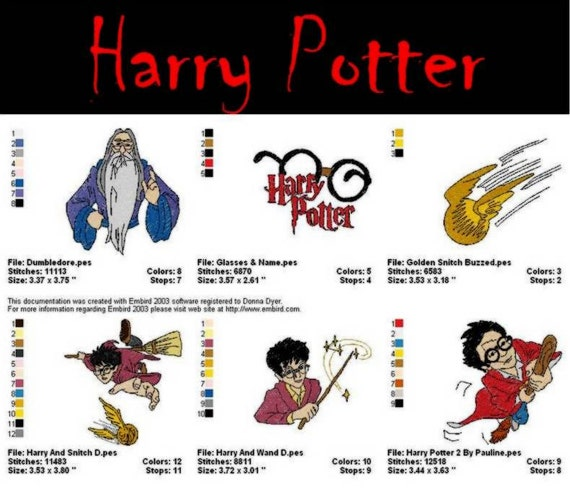 harry potter machine embroidery designs