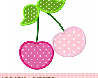 Cherry Machine Embroidery Applique Design- approximate 4x4 5x5 6x6""
