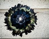 Black Bouquet - Gothic, Feather Bouquet, Peacock Bouquet, Bridal Bouquet, Bridesmaid's Bouquets, Gothic Home decor, Leather Flower