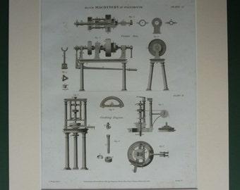 Original 1820 Machinery Matted Print - Machine - Diagram - Coaking Engine - Crown Saw - Industrial Revolution - Industry - Georgian