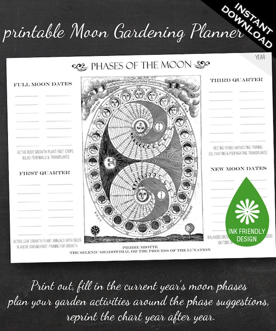Moon Phase Gardening Chart - Printable Garden Planner Page for Garden ...