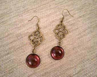 Vintagestyle Arabesque Earrings Vintage Glass Bordeaux Oriental