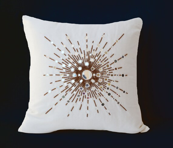Decorative Pillows With Mirrors : Silk pillows with mirror embroidery Couch pillows Decorative
