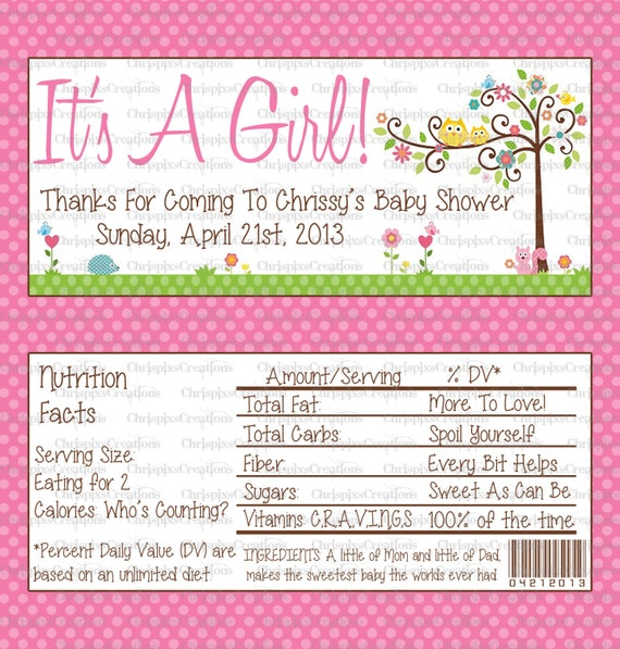 candy bar wrappers template for baby shower printable free - owl happi tree baby shower candy wrapper by chrispixscreations