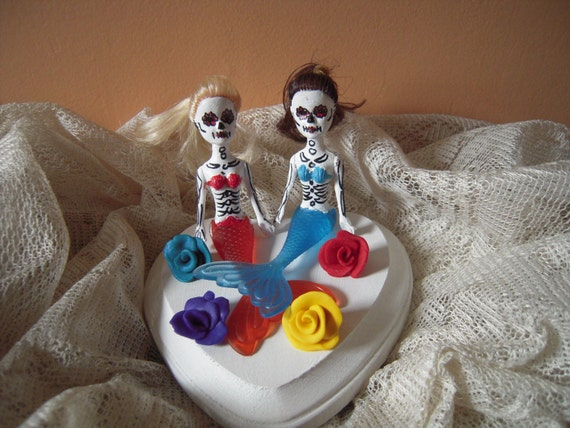 Day Of The Dead Wedding Gifts: Custom Made Day Of The Dead Skeleton Same Sex Wedding/Lesbian