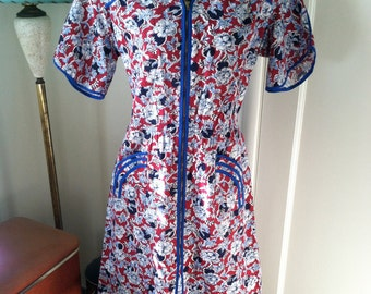 Absolutely Adorable Zip Front 1940s 1930s Cotton Floral Feedsack Vintage 40s 30s Frock Dress W/ Details VLV
