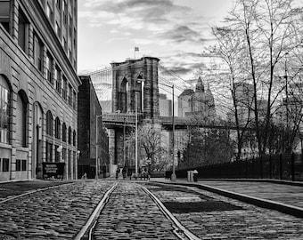 New York Photography - Brooklyn Bridge, Train tracks and cobblestone in DUMBO, Brooklyn Black and White Photograph, New York - 8x10 photo