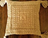 1970s Camel Sand Bohemian Yarn Embroidered Throw Pillow with Tassels