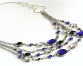 Blue Bubbly charms draped from silver chains- Necklace & Bracelet Set