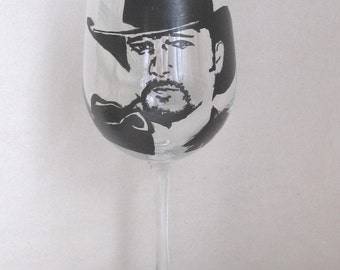 Hand Painted Wine Glass - TIM MCGRAW 2