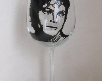 Hand Painted Wine Glass - MICHEAL JACKSON