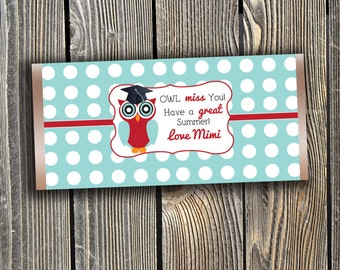 Teacher Candy Bar Wrapper Printable  - Owl Miss You (Instant Download)