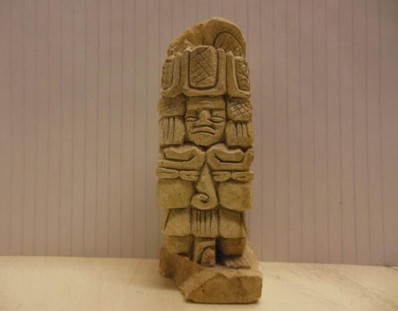 Vintage aztec inca maya warrior statue stone hand carved