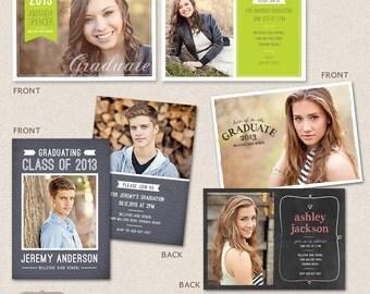Senior Graduation Announcement Templates for Photographers PSD  - Set 1