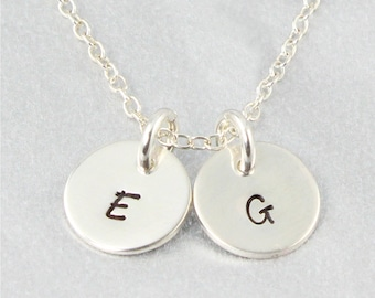 Two Initial Discs Necklace - Monogram Necklace - Personalised Hand Stamped Sterling Silver Necklace - Personalised Jewellery