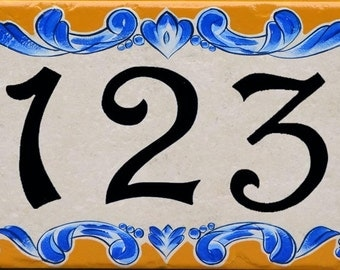 "House numbers plaque, hand painted, porcelain, size 8x16"" - daisies design"
