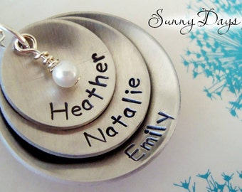 Mother's necklace with up to 3 children's names - Mother's Day - Mommy - Wife - Grandmother - Birthday