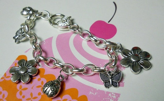Girl's Charm Bracelet - Ladybugs, Flowers and Butterflies