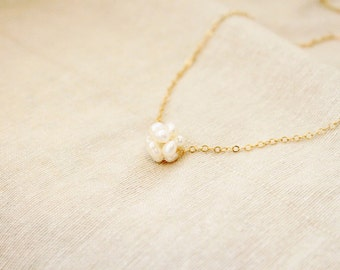 Milky Pearls Ball 18K gold Everyday Necklace with free gift box, solitaire minimalist simple delicate tiny