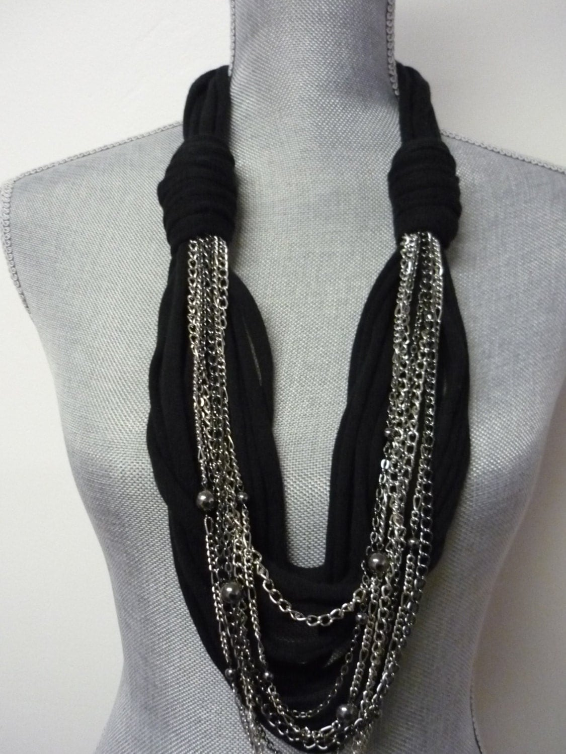 Chunky Scarf Necklace W Chains Black Amp Silver By Marielamode