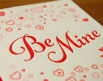 Be Mine Letterpress Valentine Card