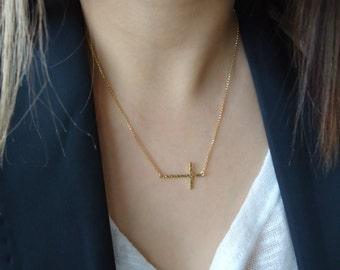 Sideways Cross Hammered 18K Gold Necklace • Long Skinny Cross in center or side • Religious Celebrity-adored Everyday Jewelry Gift for Her