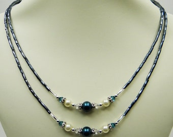 Blue Necklace, Double Strand Necklace, Pearl Necklace, Crystal Necklace, Special Occasion, Formal Necklace, Formal Jewelry, Beaded Necklace