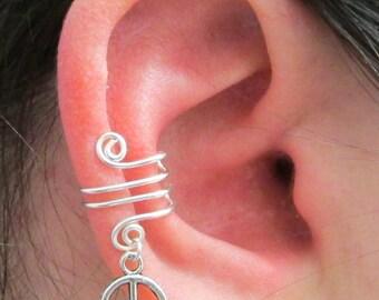 Silver Ear Cuff, Peace Charm, Silver Ear Wrap, Cartilage Cuff, Cartilage Wrap, Simple Ear Cuff, No Pierce Jewelry, No Pierce Earring