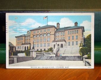 Vintage Postcard, Fitchburg, Massachusetts, Wallace Way & High School 1930s Paper Ephemera