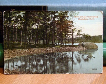 Vintage Postcard, Lake Quassapaug, Middlebury, Connecticut, Early 1900s Paper Ephemera